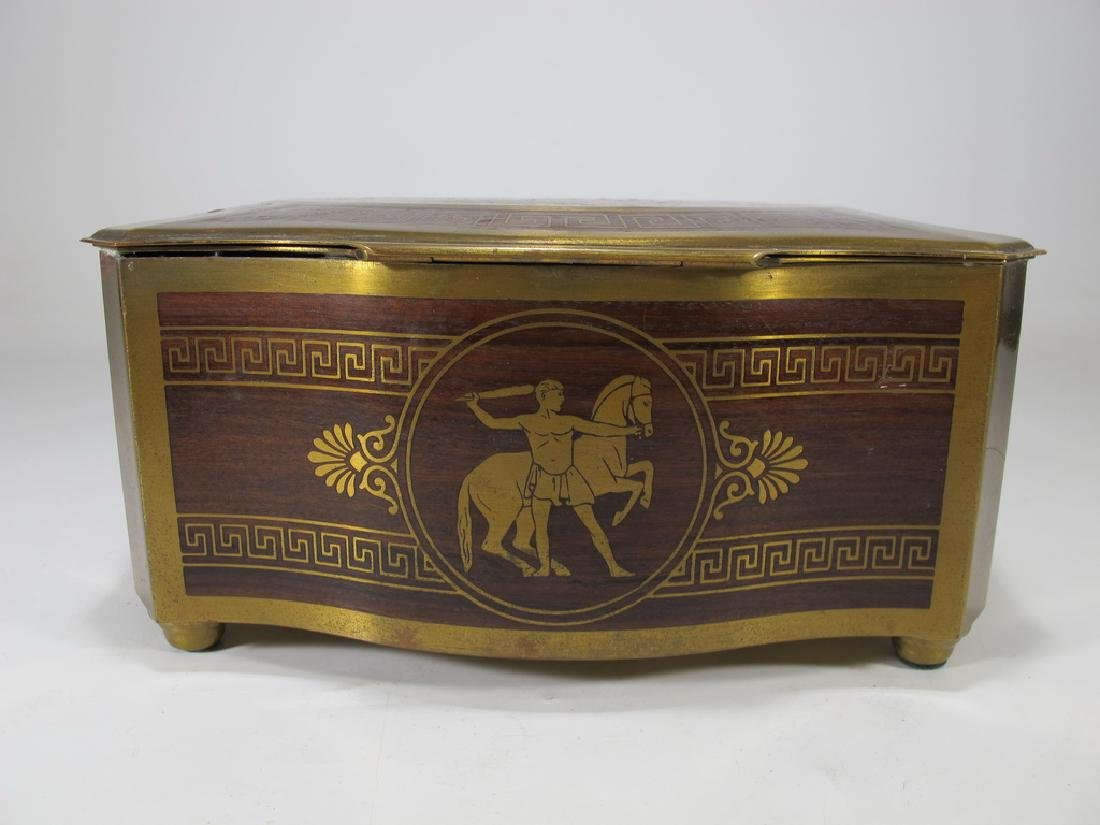 Antique German bronze inlay wood jewelry box - 6