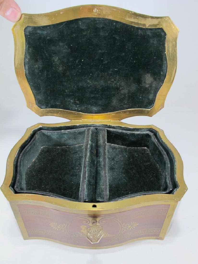 Antique German bronze inlay wood jewelry box - 7