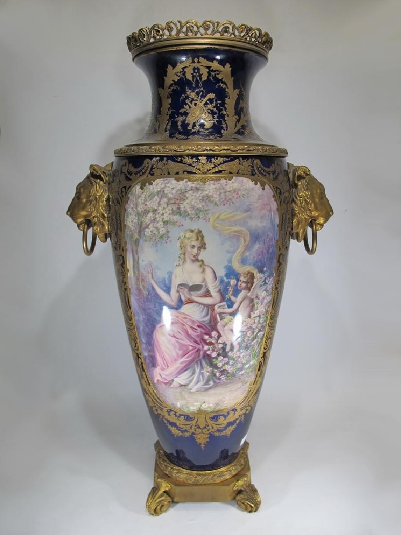 Amazing huge antique French Sevres porcelain & bronze