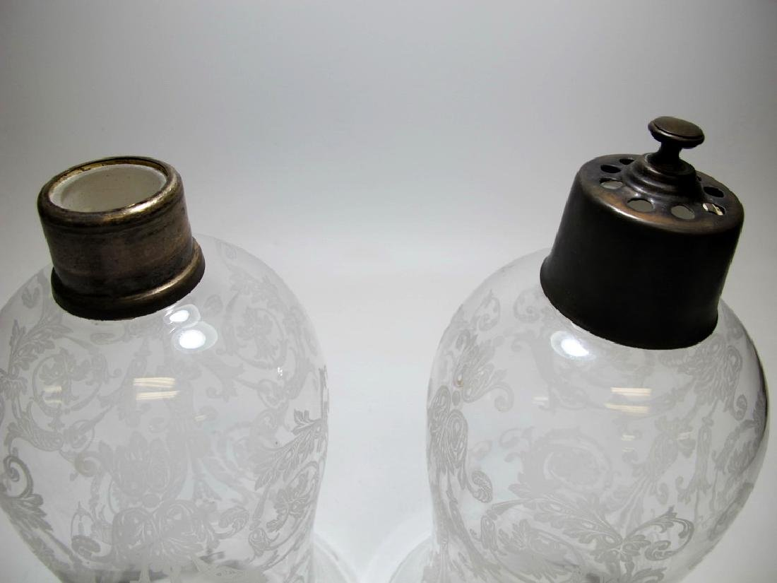Antique French Baccarat pair of glass lustres shades - 3