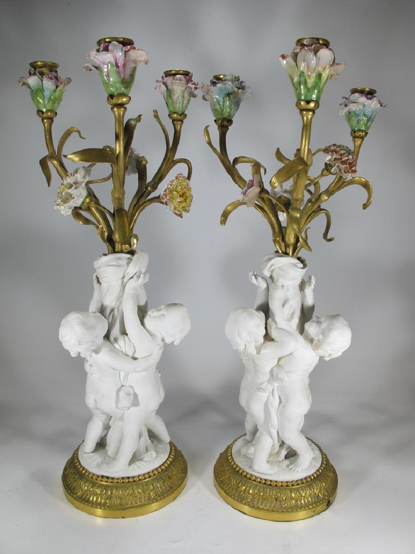 Antique French pair of bronze & porcelain candelabras