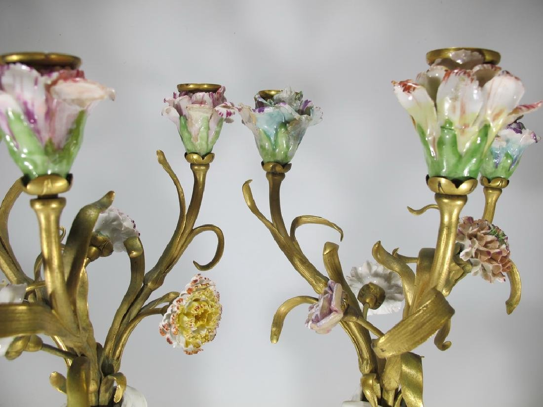 Antique French pair of bronze & porcelain candelabras - 2