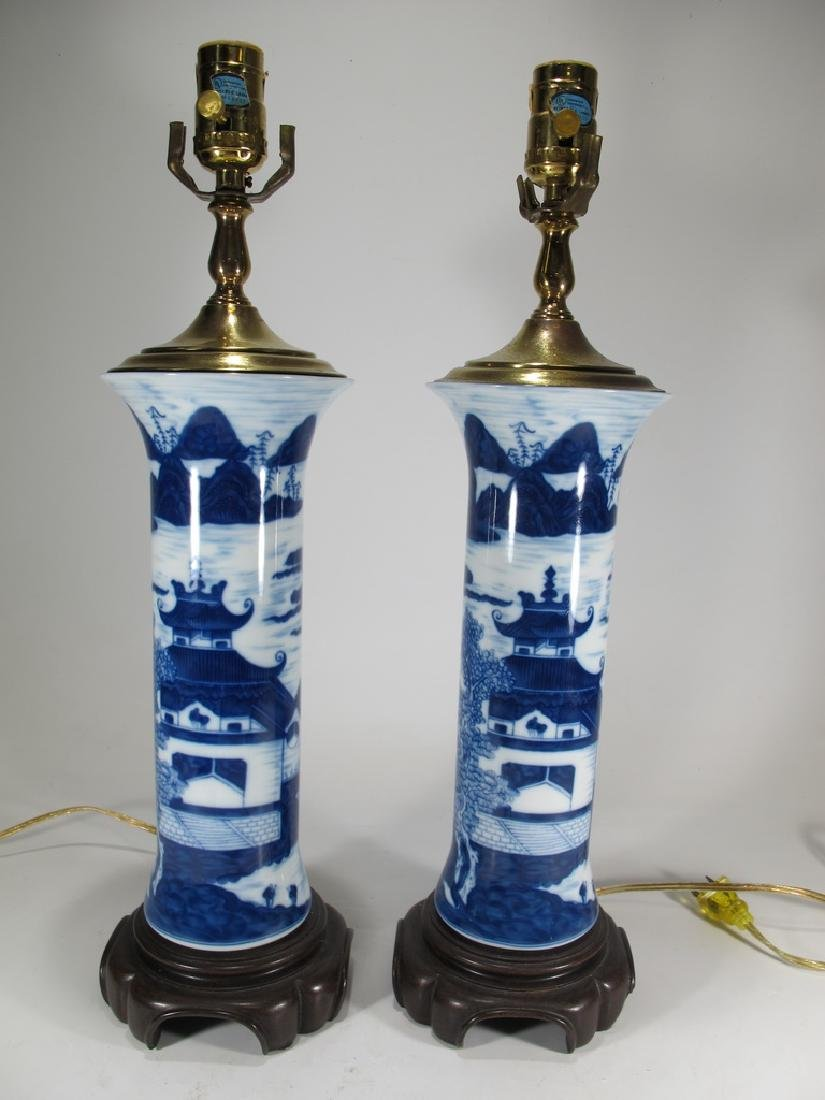 Mottahedeh pair of blue canton reproduction lamps