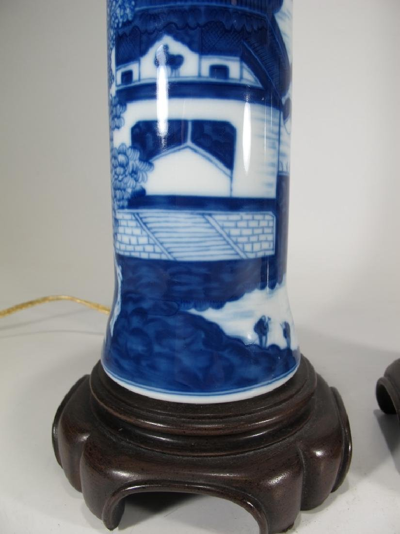 Mottahedeh pair of blue canton reproduction lamps - 3