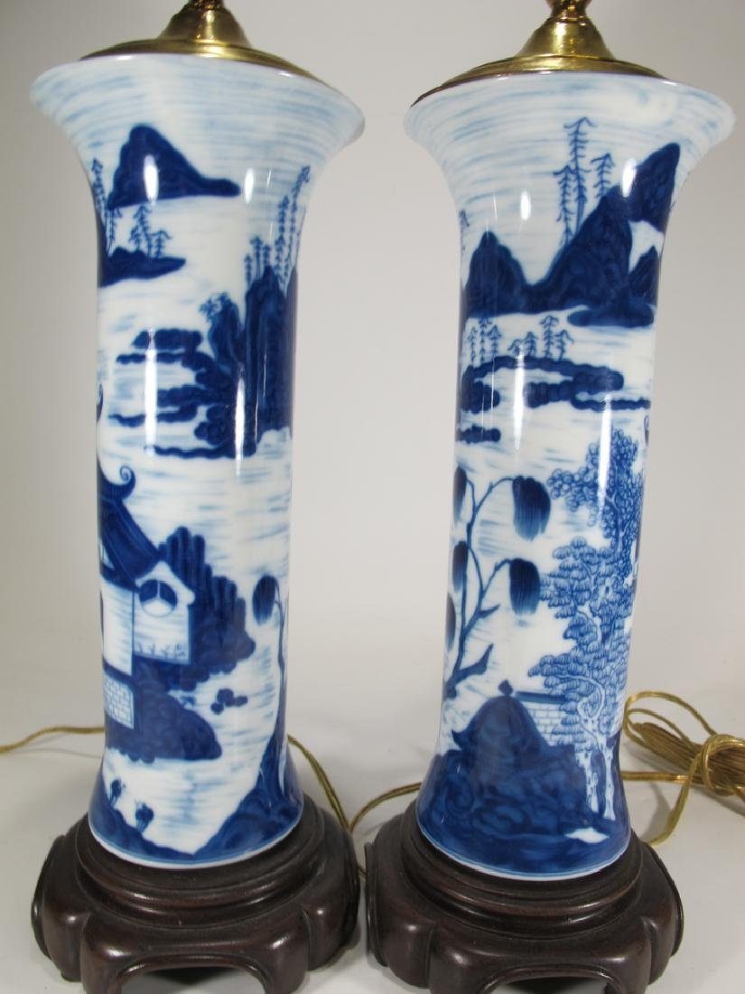 Mottahedeh pair of blue canton reproduction lamps - 4