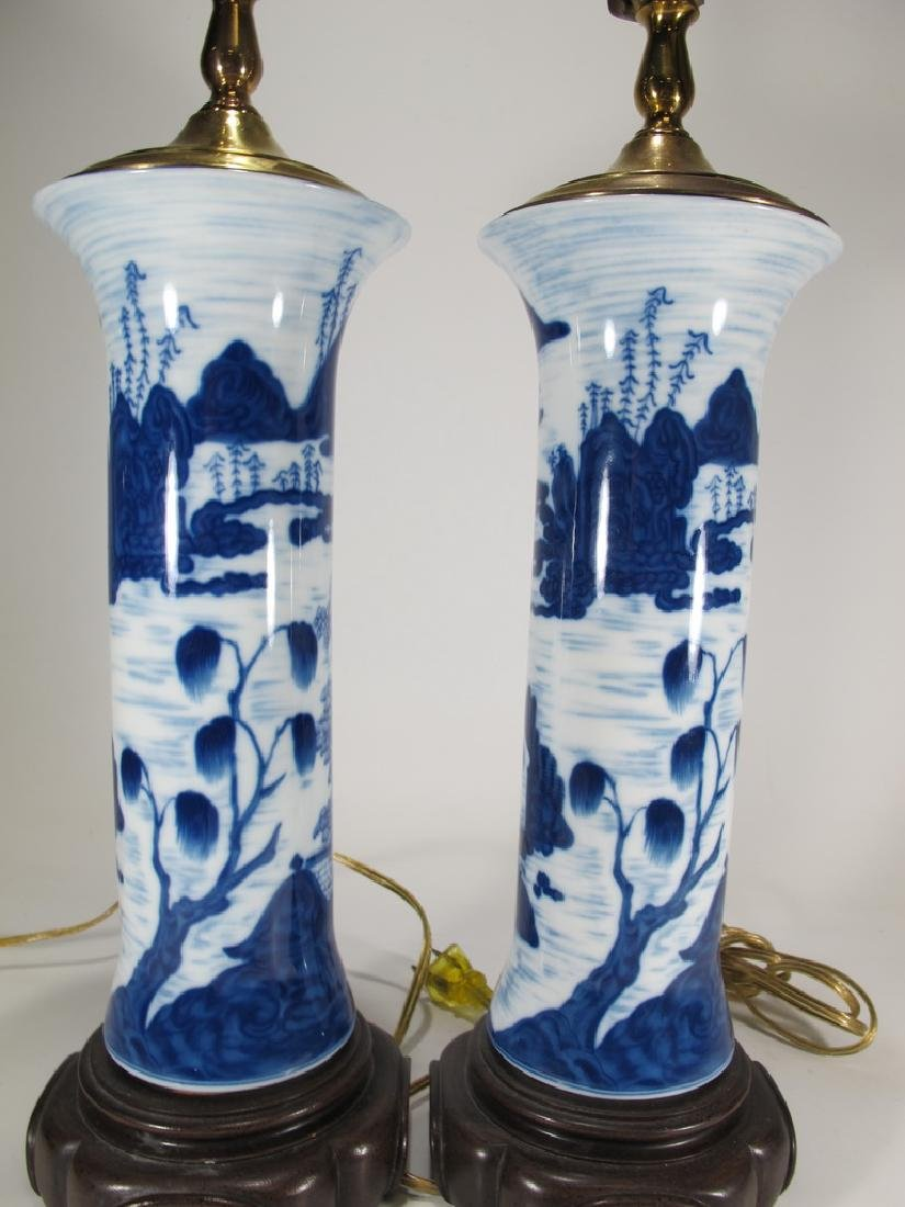 Mottahedeh pair of blue canton reproduction lamps - 5