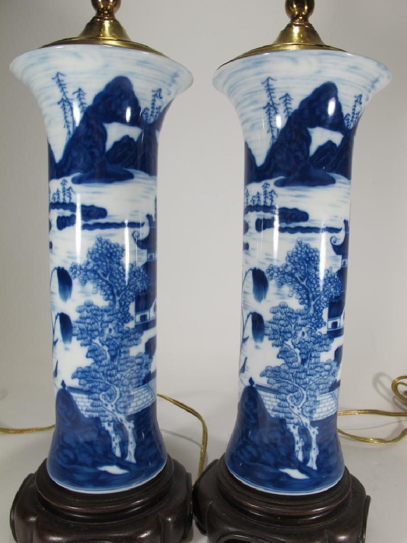 Mottahedeh pair of blue canton reproduction lamps - 6