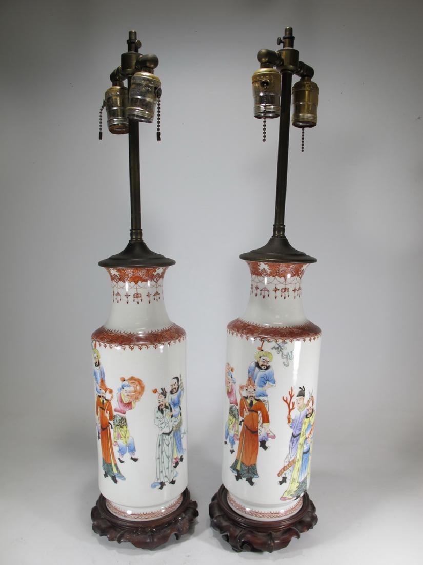 Vintage Chinese pair of porcelain lamps
