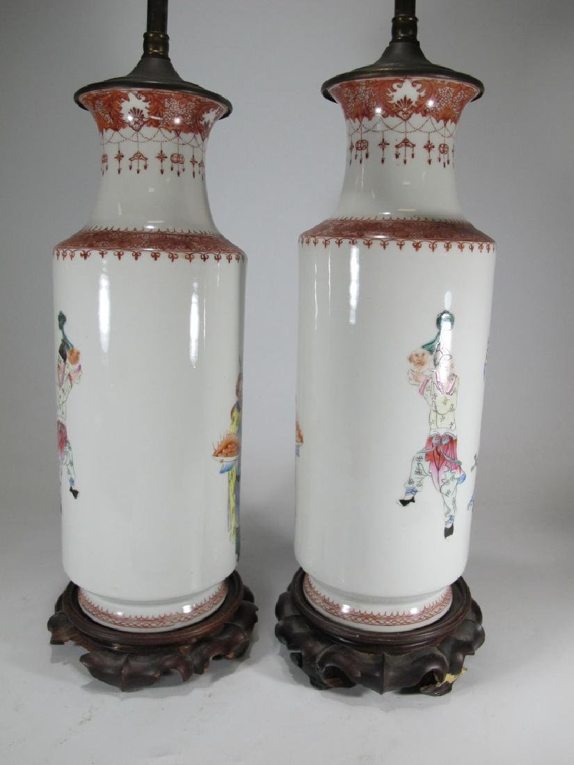Vintage Chinese pair of porcelain lamps - 7