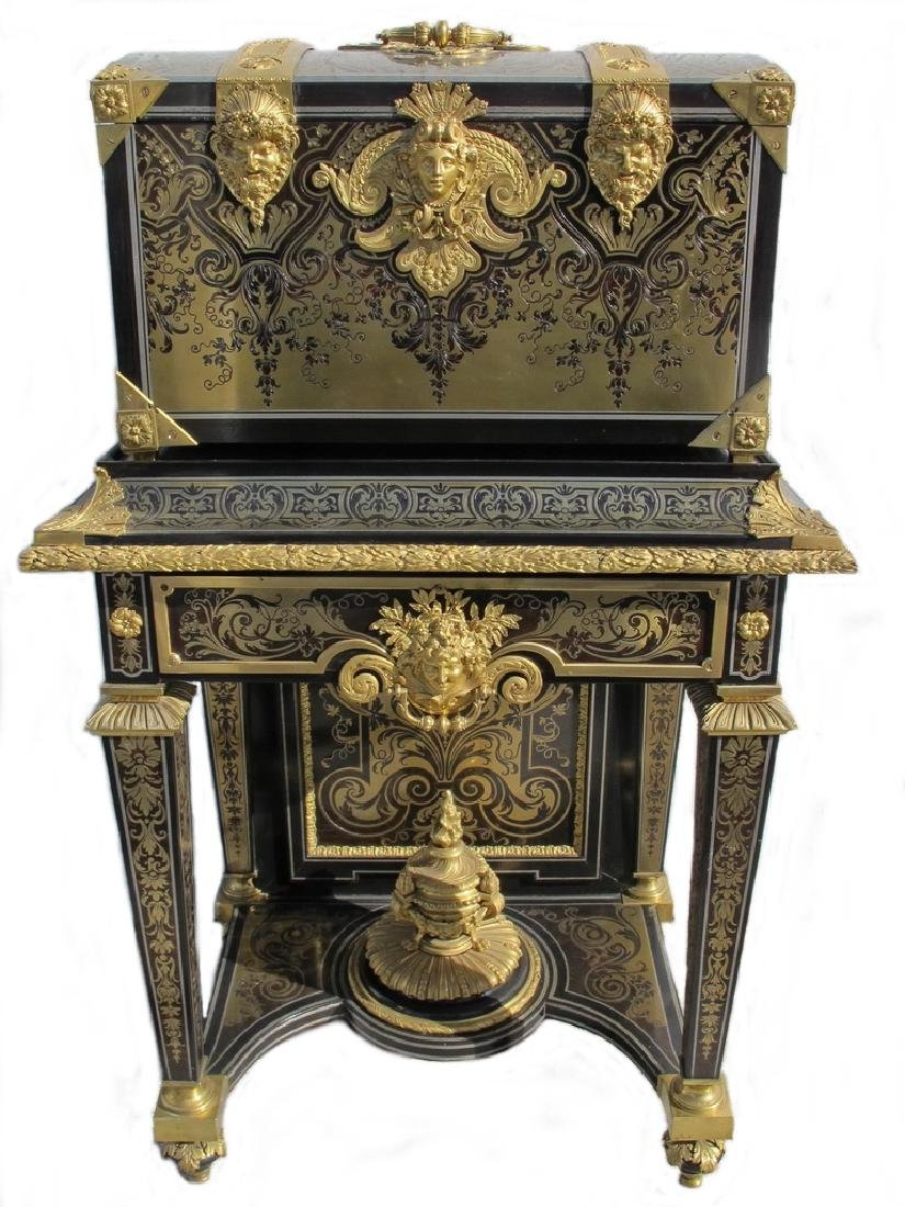 A Napoleon III ormolu-mounted 'Boulle' coffer on stand