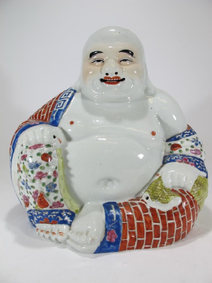 Antique Buddha porcelain statue, signed