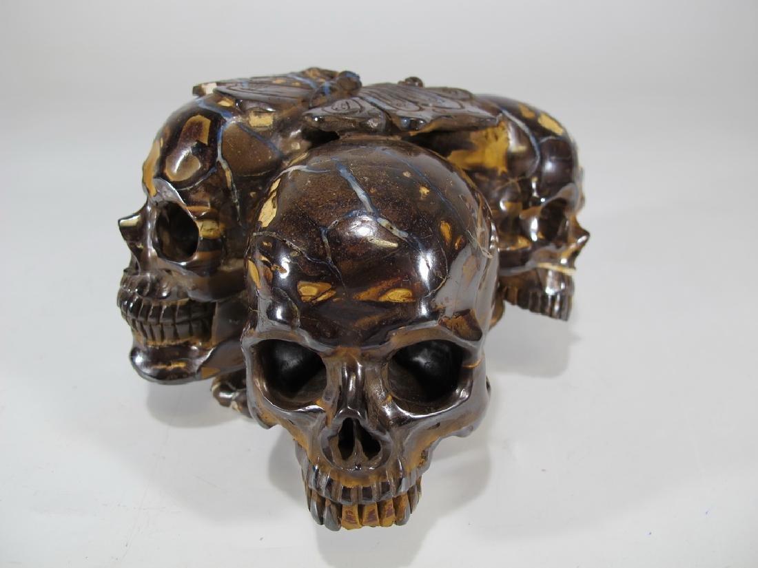 Antique rare skulls hand carved tiger eye stone