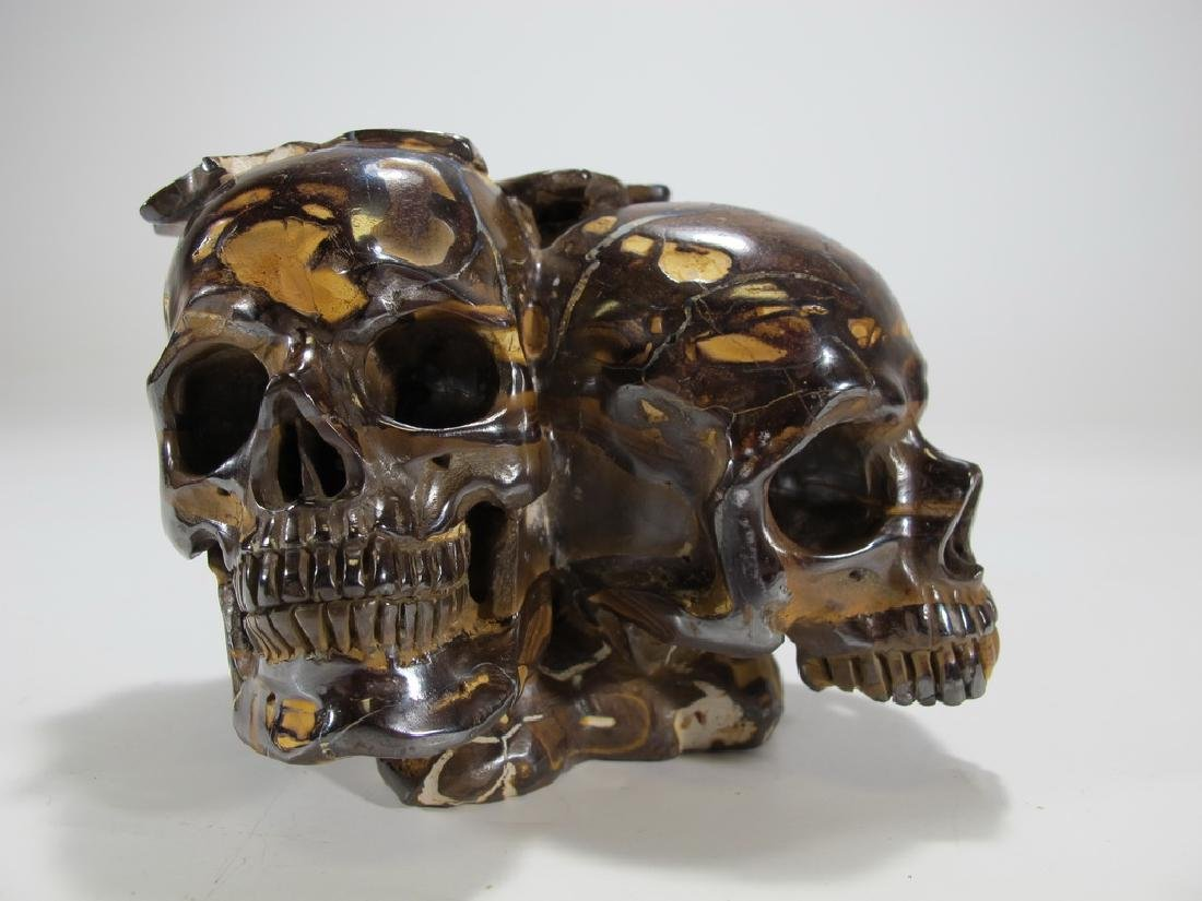Antique rare skulls hand carved tiger eye stone - 5