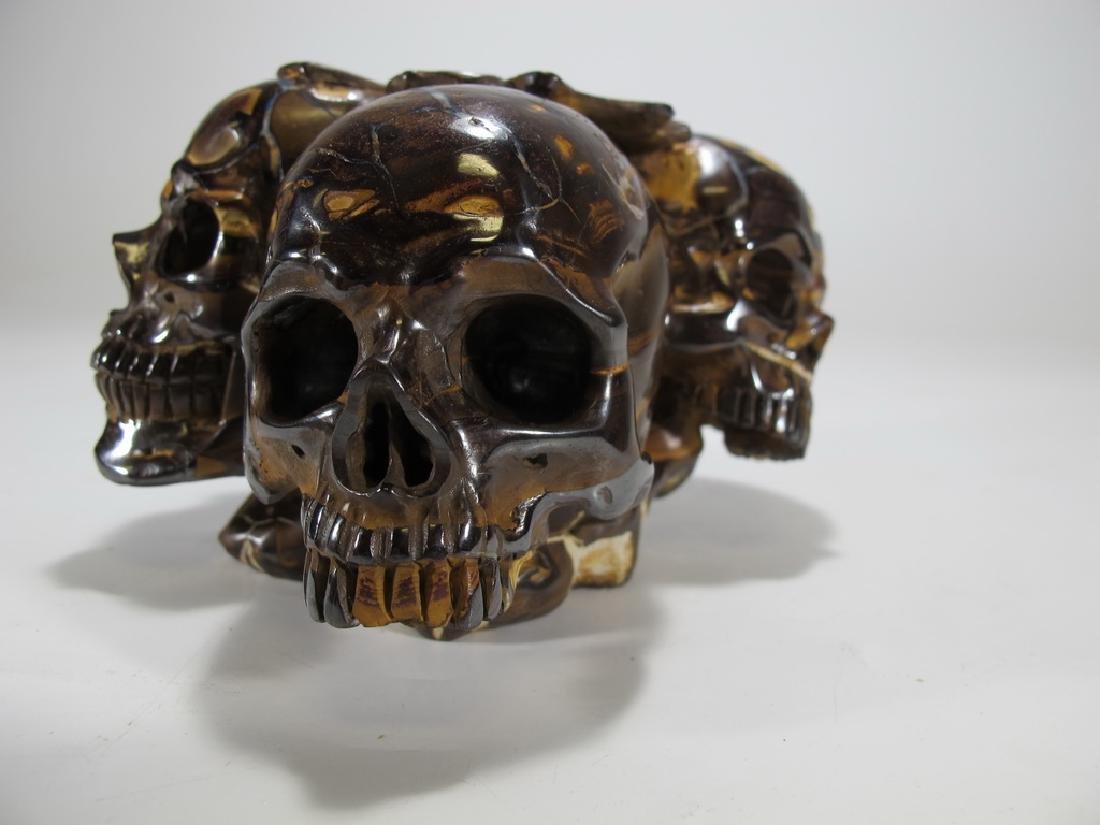 Antique rare skulls hand carved tiger eye stone - 6