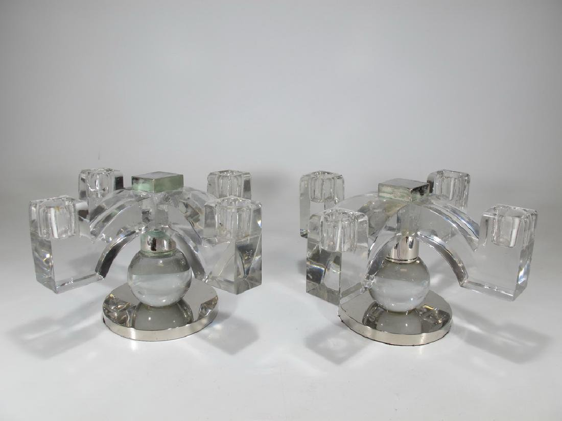 Antique French Baccarat pair of crystal & metal