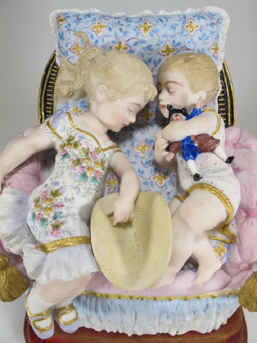 Antique German bisque kids statue - 2