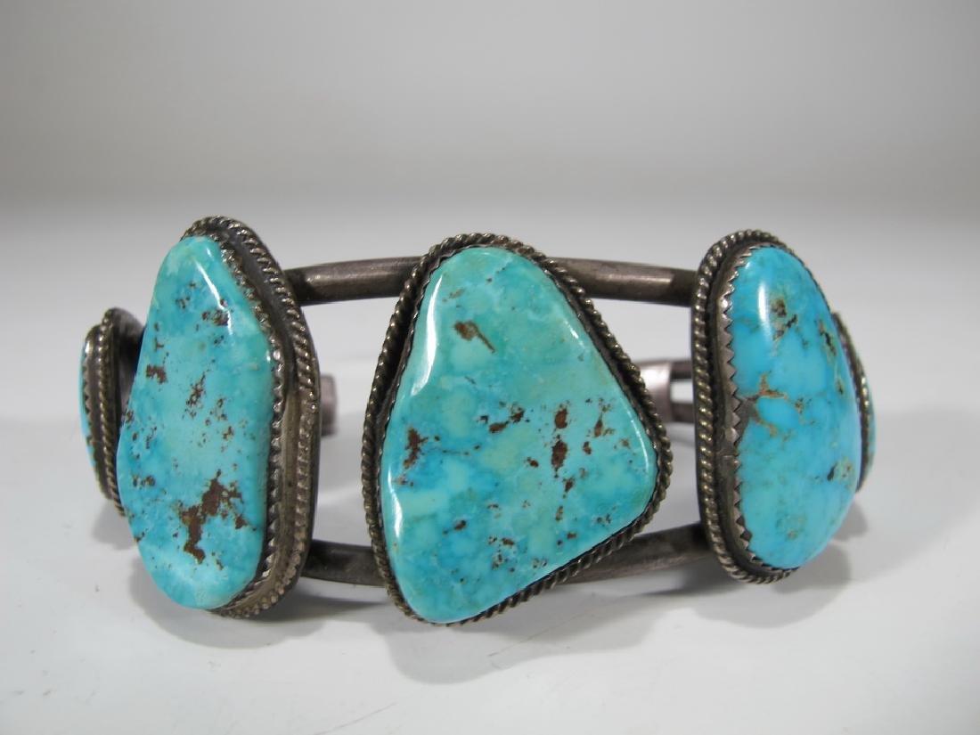 Vintage sterling & turquoise Navajo made bracelet - 2