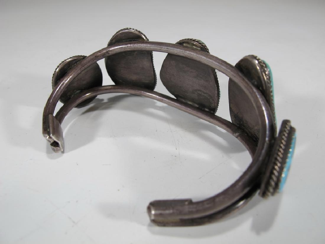 Vintage sterling & turquoise Navajo made bracelet - 3