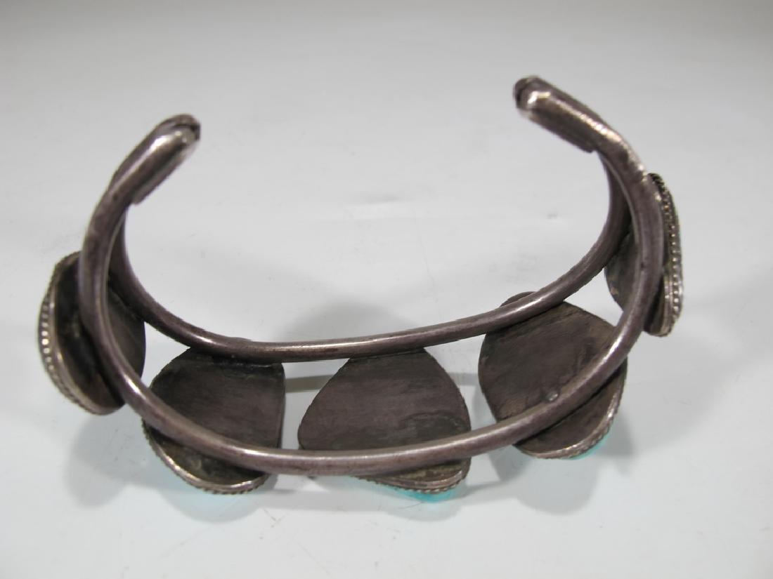 Vintage sterling & turquoise Navajo made bracelet - 4