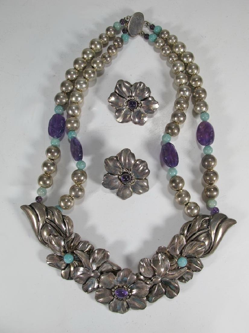 Vintage sterling, turquoise & amethyst necklace &