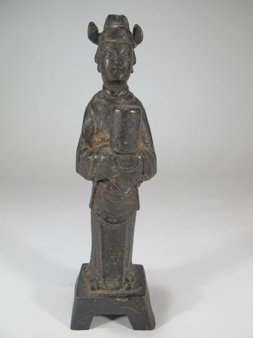 Antique Oriental woman bronze statue
