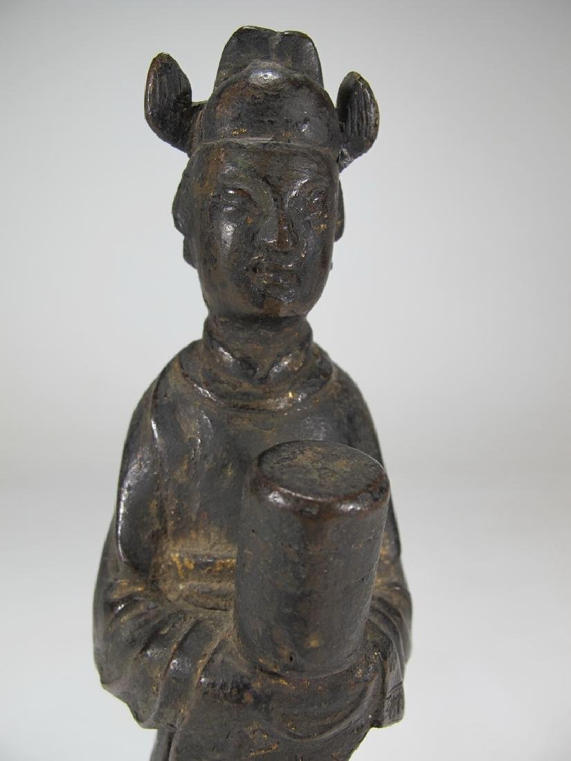 Antique Oriental woman bronze statue - 2
