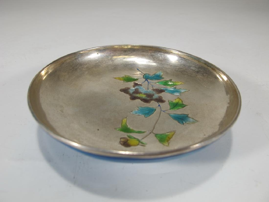 Antique Chinese silver & enamel small dish