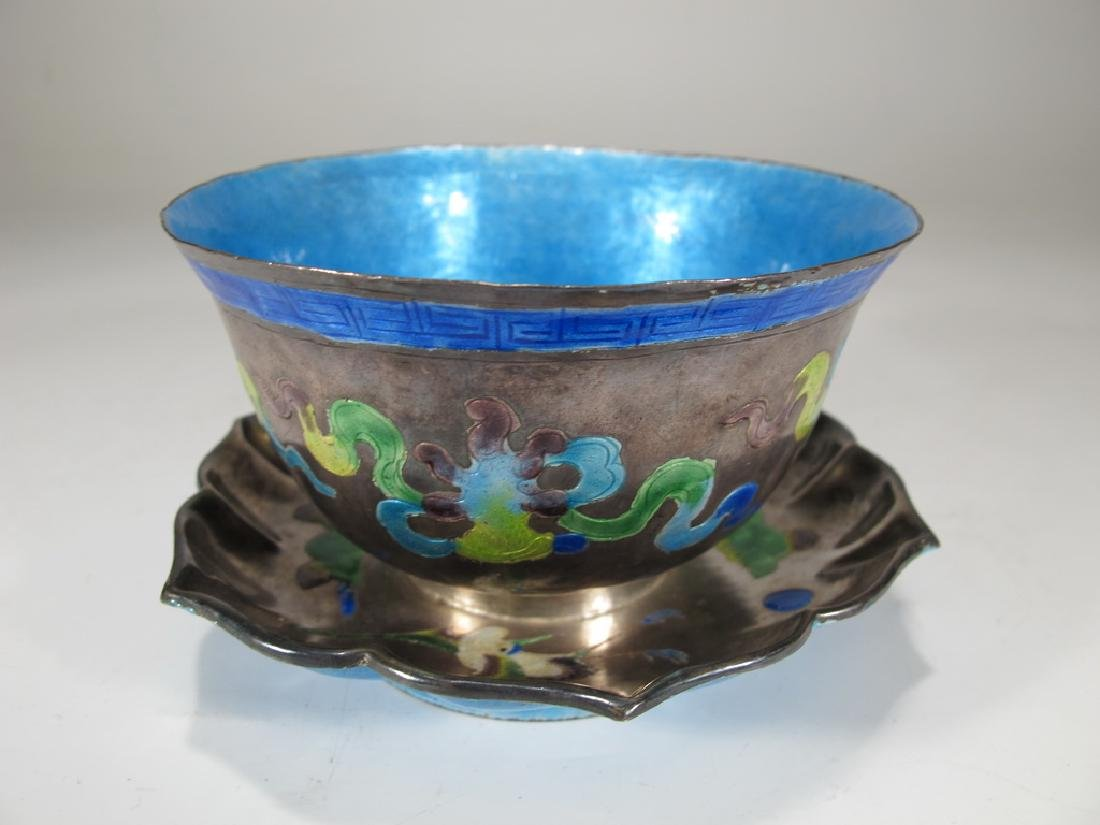 Antique Chinese silver & enamel cup on stand