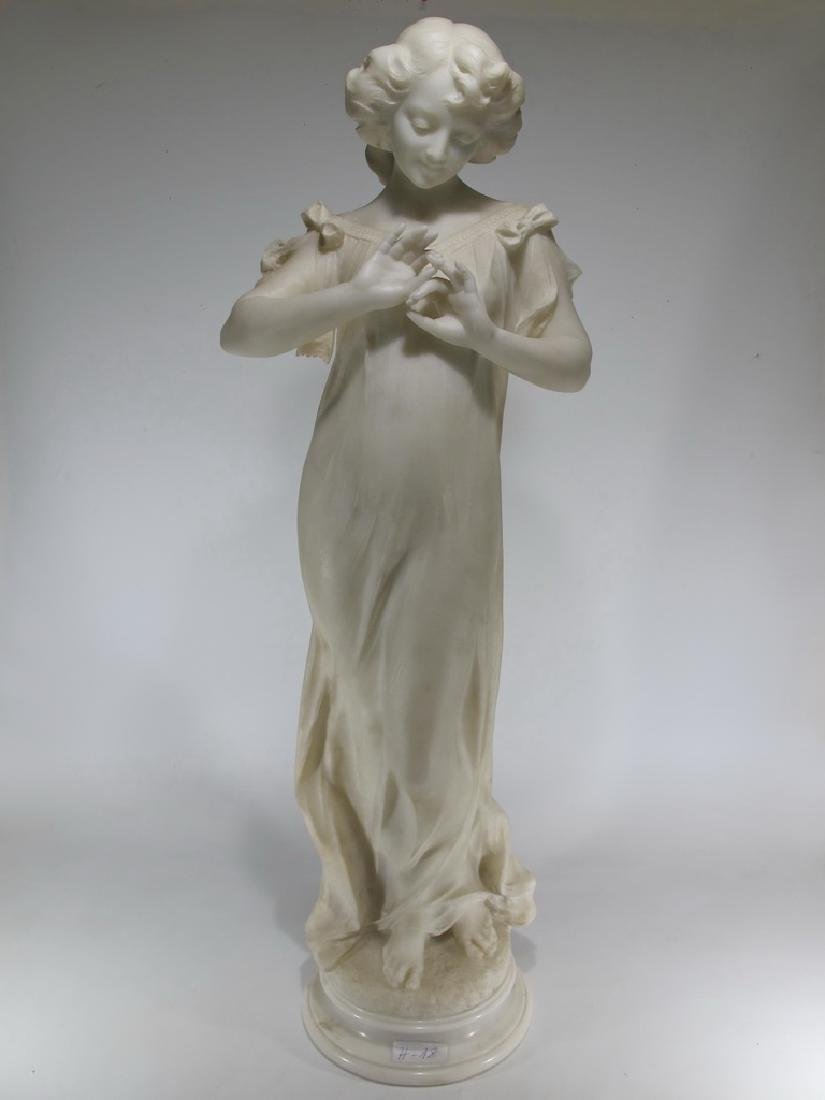 Huge antique European young girl marble sculpture
