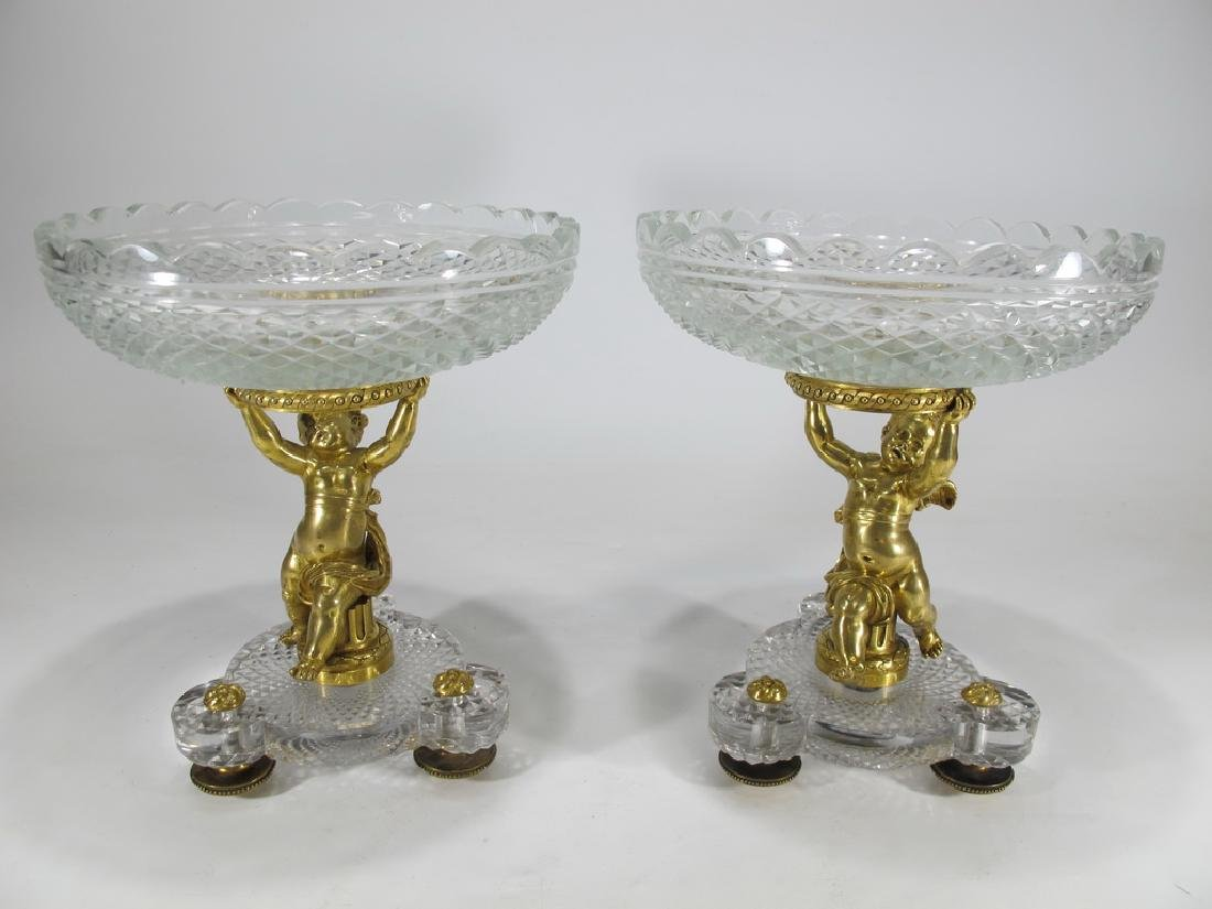 Pair of French Baccarat  bronze & crystal fruits stands