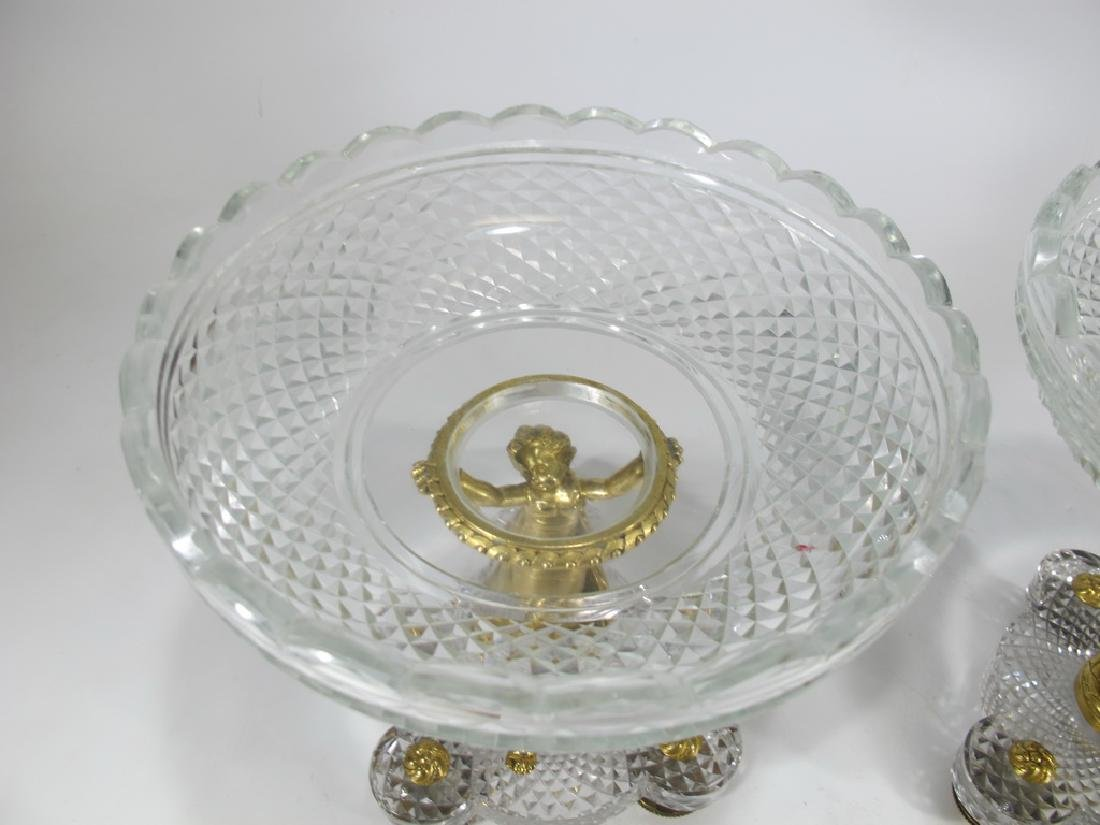 Pair of French Baccarat  bronze & crystal fruits stands - 2