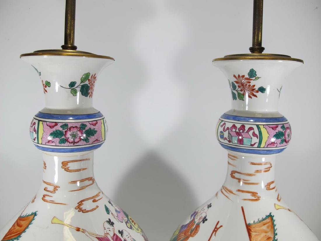 Vintage Chinese pair pf porcelain table lamps - 3
