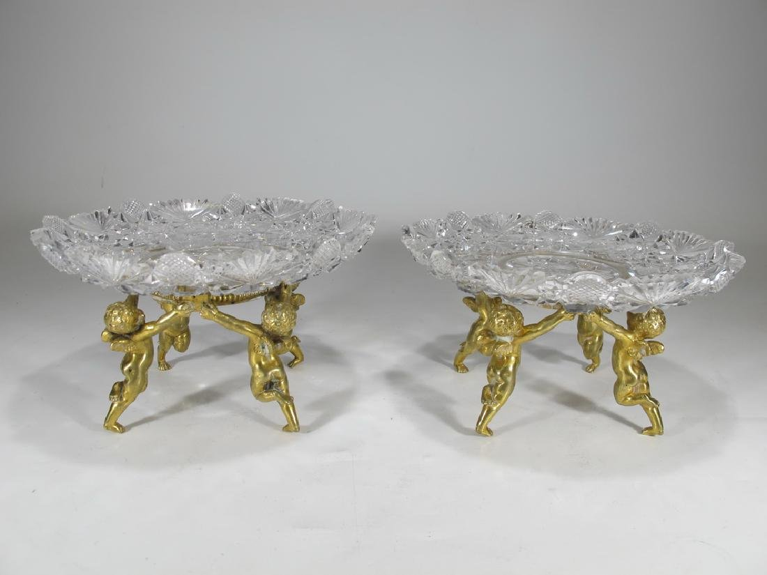 Antique French Baccarat pair of stands