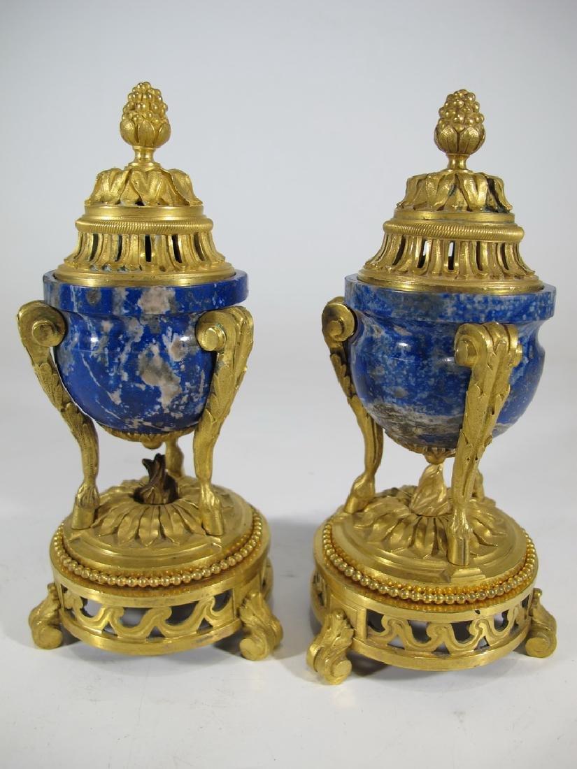 Amazing antique French pair of lapislazuli & bronze