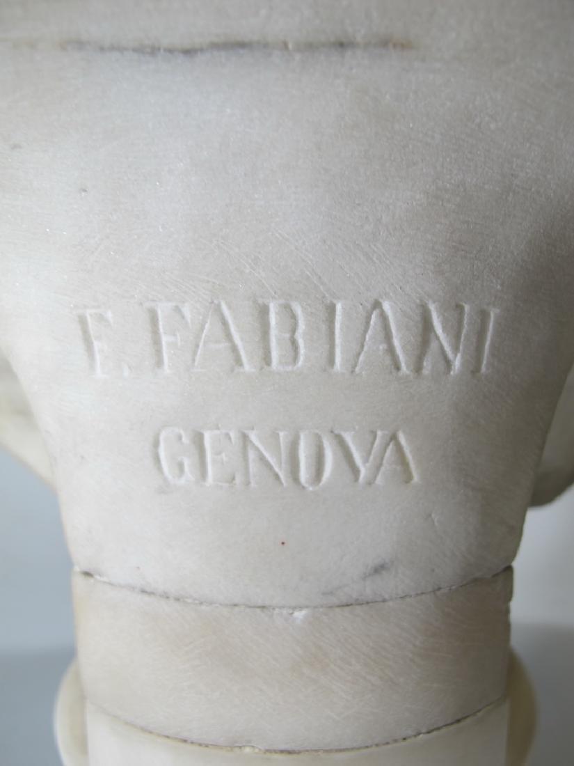 Signed F. FABIANI, Genova, Italy marble bust - 7