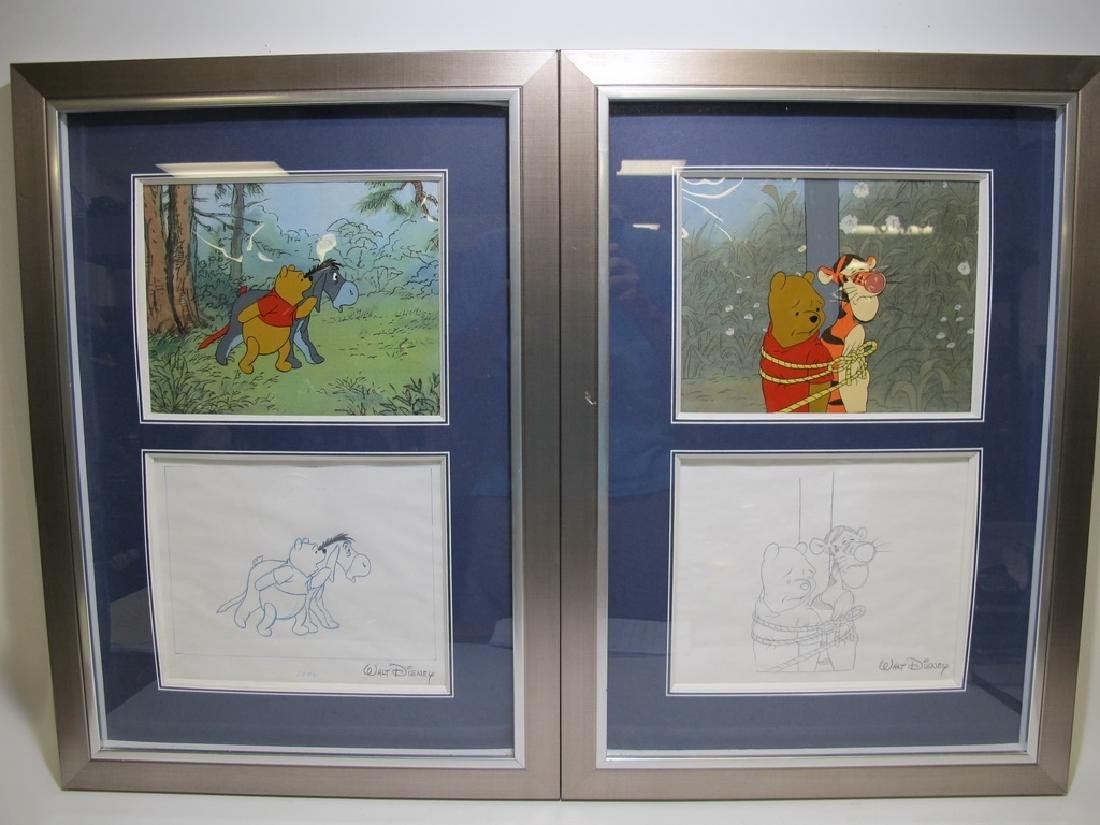 2 Disney art sells of Winnie the Pooh drawings