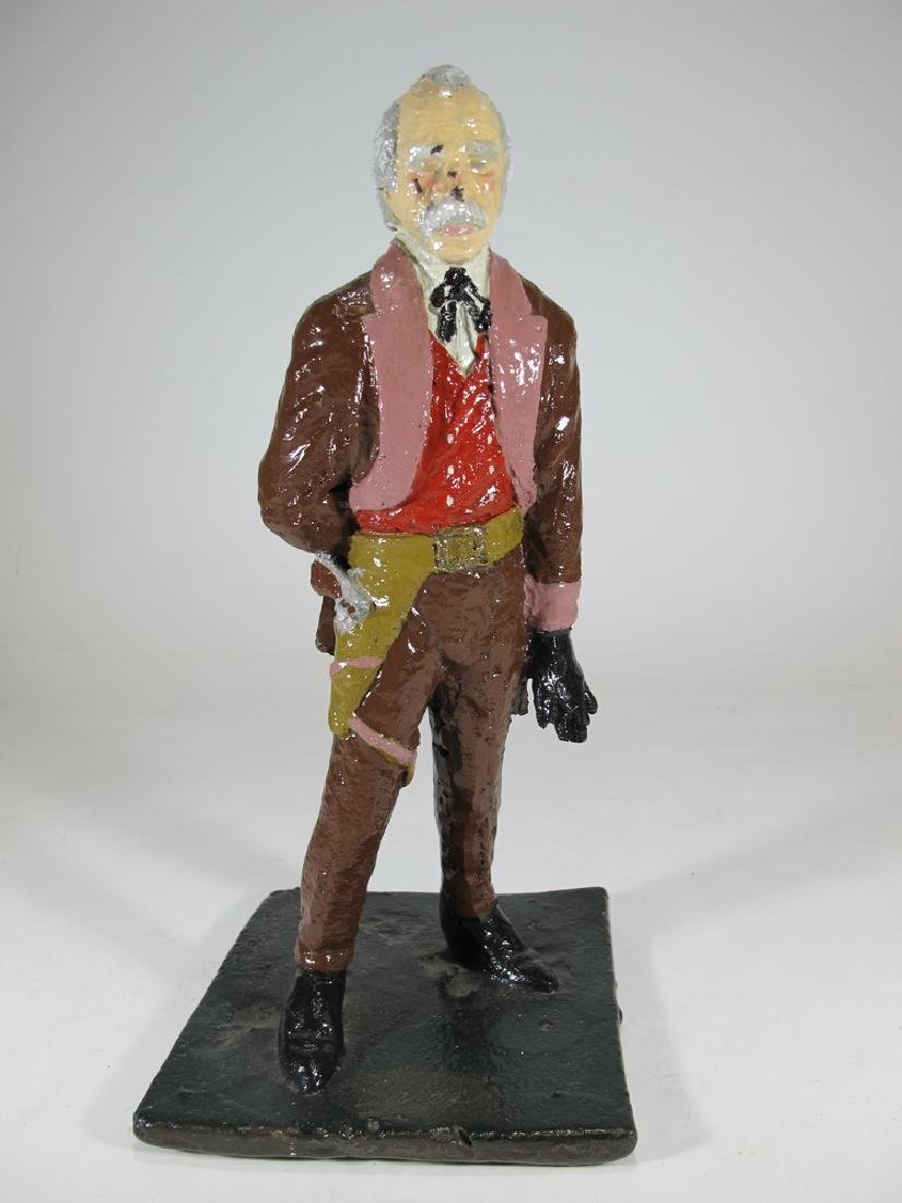 Signed Vares cowboy iron painted sculpture