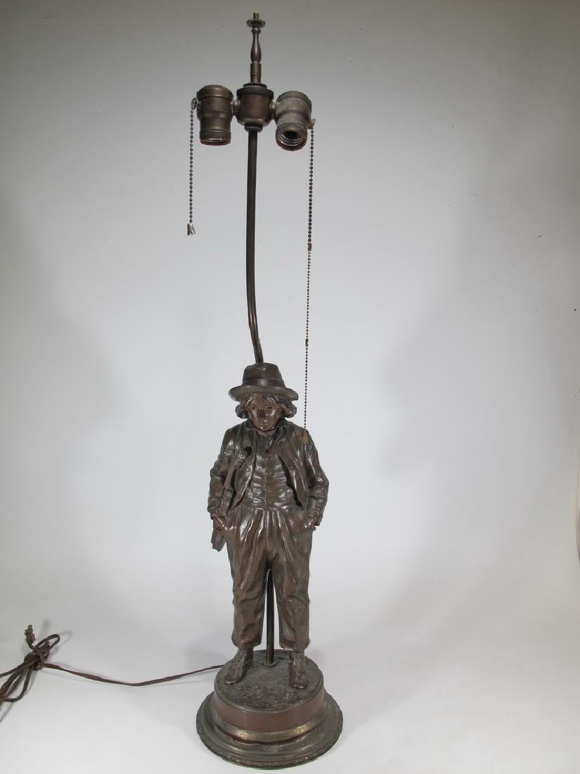 Jean GARNIER (1853-c.1910) bronze statue lamp