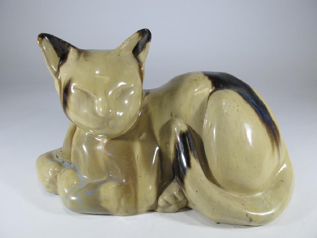Asrts & Crafts Fulper sleeping cat pottery door stop