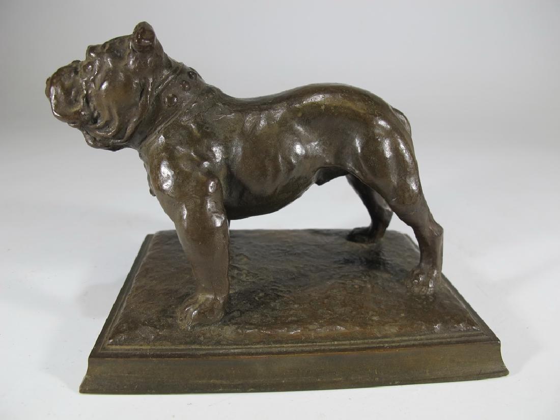 Antique French bulldog bronze statue