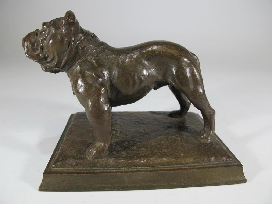 Antique French bulldog bronze statue