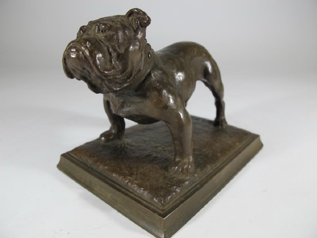 Antique French bulldog bronze statue - 2