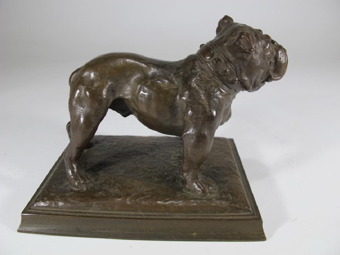 Antique French bulldog bronze statue - 3