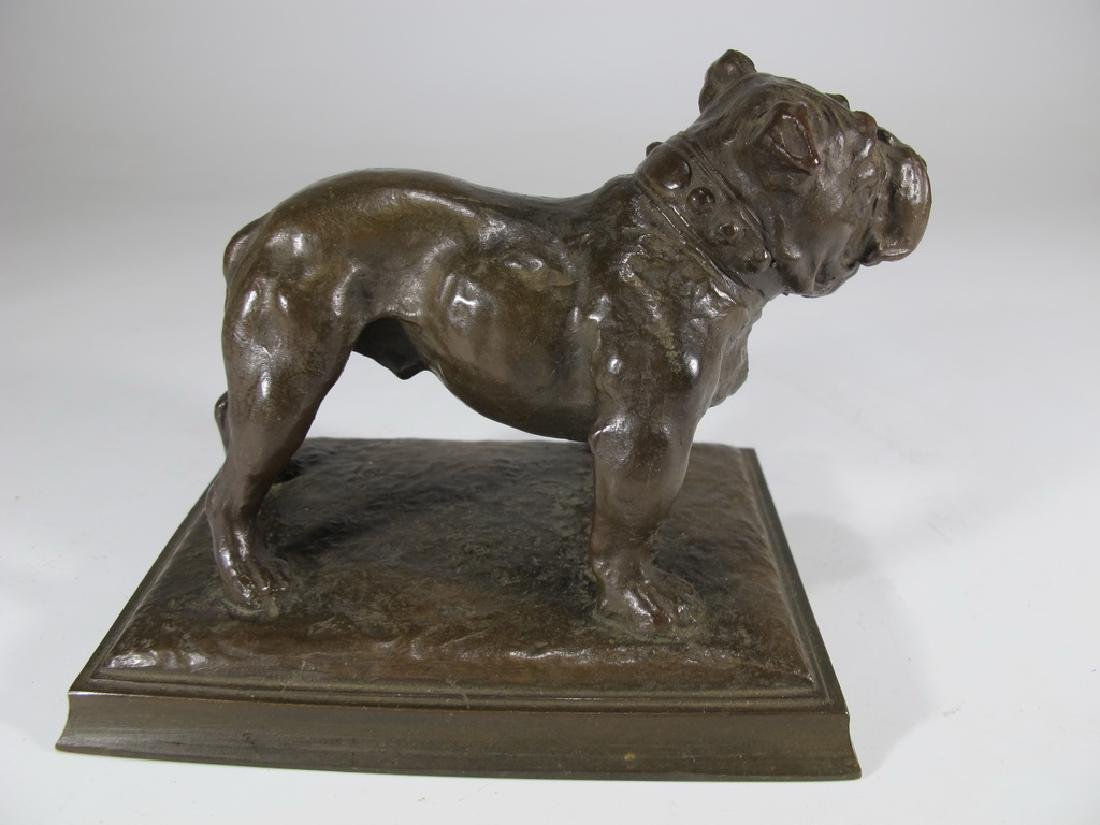 Antique French bulldog bronze statue - 3