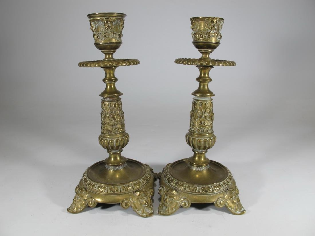 Antique European pair of bronze candlesticks