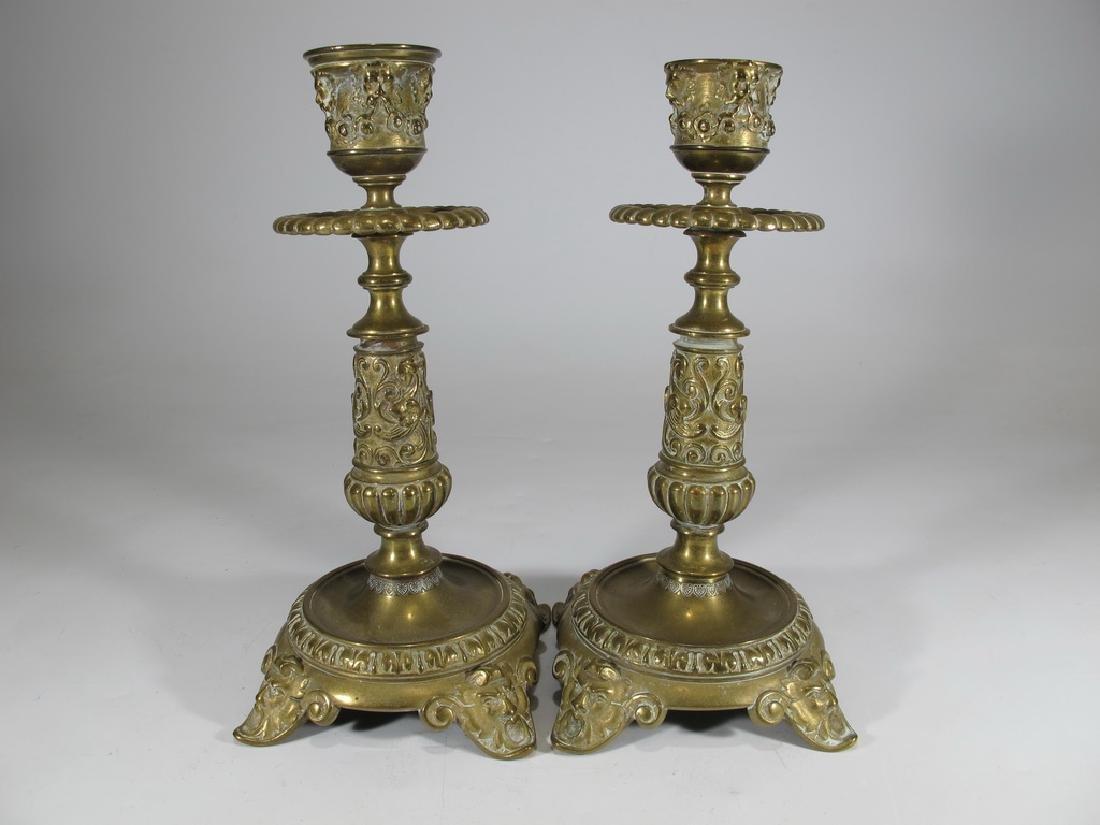 Antique European pair of bronze candlesticks