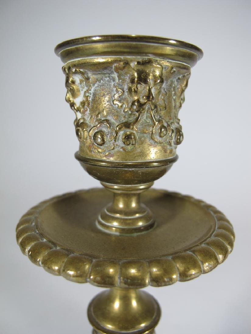 Antique European pair of bronze candlesticks - 2