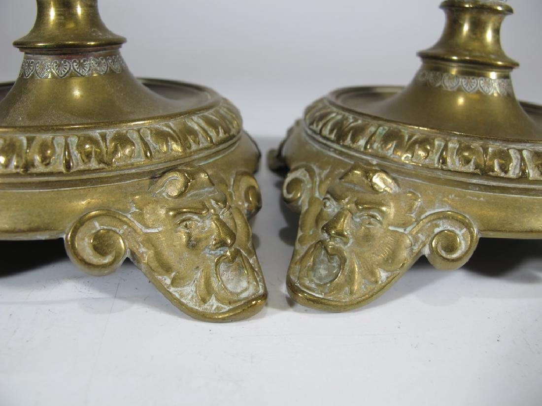 Antique European pair of bronze candlesticks - 5