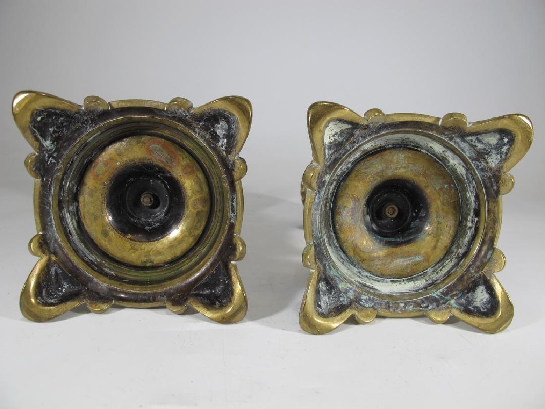 Antique European pair of bronze candlesticks - 6