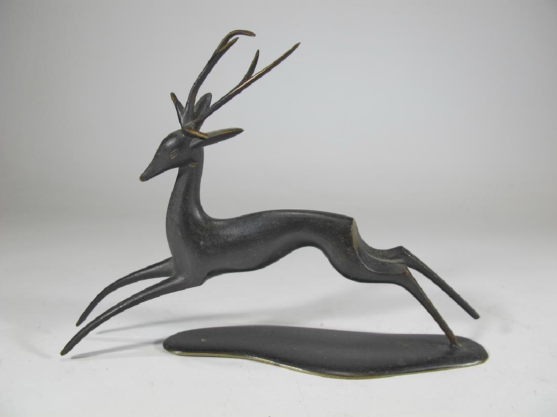 Werkstätte Hagenauer patinated brass deer, ca. 1950s